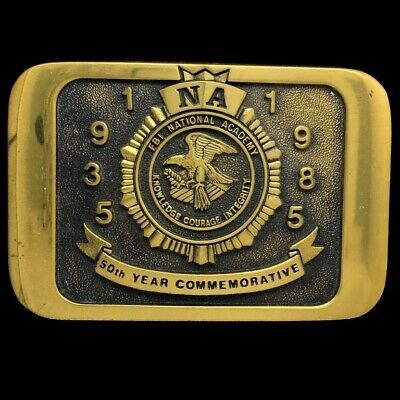 Vintage Fbi National Academy Na Federal Bureau Investigation Brass Belt Buckle