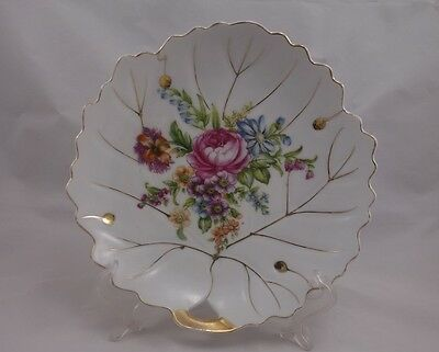 Nasco Hand Painted Leaf Shape Plate Floral Bouquet
