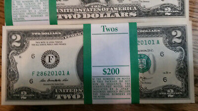 LOT OF $20  2013 UN-Circulated Two Dollar ($2) Bills Green Seal Notes