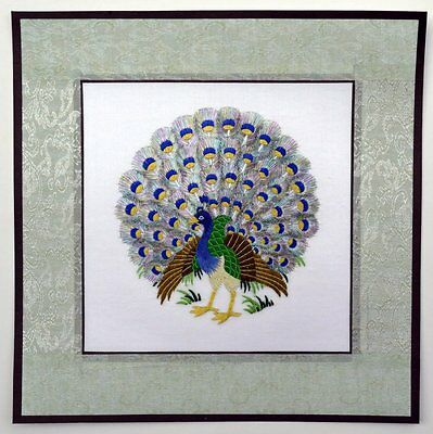 "Chinese Suzhou embroidery painting peacock 12x12"" hand-made birds feng shui art"