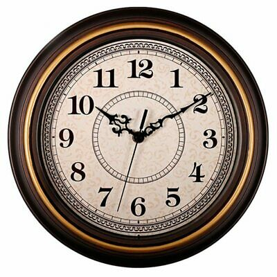 1X(12-Inch Silent Non-Ticking Round Wall Clocks, Wall Clocks Decorative Vin J8K3