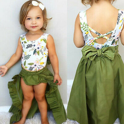 Infant Baby Kids Girl Floral Printed Tops Tank Tops+Shorts+Skirts Dress Outfits