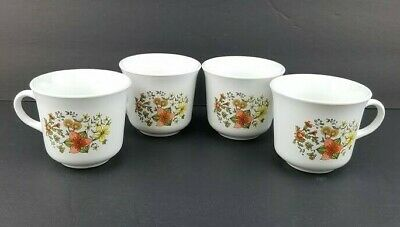"Vintage Corelle By Corning ""Indian Summer"" Coffee / Tea Cups - Set of 4"