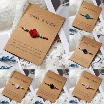 Handmade Natural Stone Rope Bracelet Bangle Friendship Couple Card Jewelry Gifts