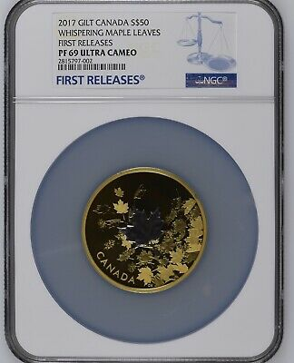 2017 Gilt Canada $50 Whispering Maple Leaves NGC PF69 Ultra Cameo First Release