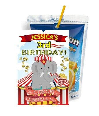 bd3638a74 CIRCUS CAPRI SUN LABELS BIRTHDAY PARTY FAVORS Suns JUICE BOX SUPPLIES  STICKERS