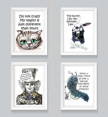 Alice in Wonderland Quote Prints,Fun,Motivational,Character Art,Inspirational