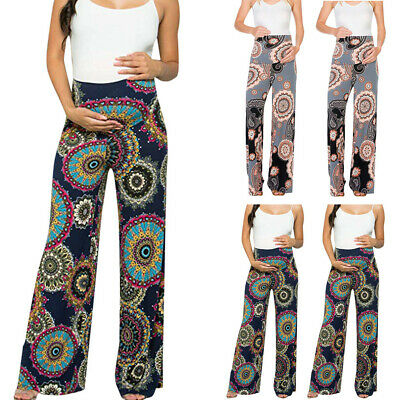 Fashion Women's Maternity Floral Easy Pants Pregnancy Printing Trousers