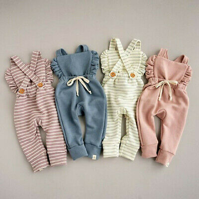 Newborn Baby Girl Boy Backless Striped Ruffle  Jumpsuit Cute Clothes