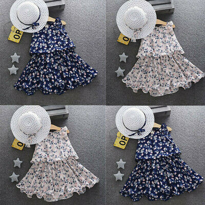Fashion Toddler Baby Girls Floral Flowers A-Line Skirt Party Princess Dresses