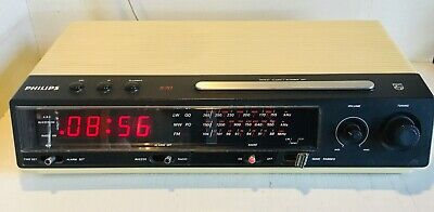 PHILIPS type 570 Vintage electronic clock with alarm 1970's 1980's good working