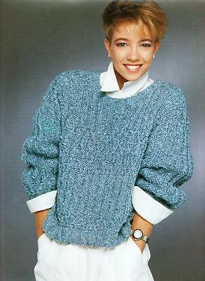 "BK289 LADIES ARAN CABLED SWEATER KNITTING PATTERN 38""/96cm"
