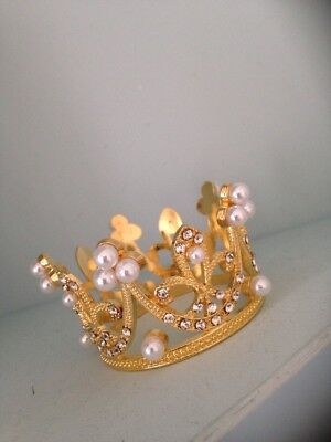 Smaller Baby Crown .crystal Rhinestone Crown . Little Crown .small Gold .