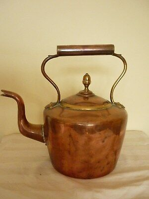 Antique Victorian Large Copper & Brass Kettle.