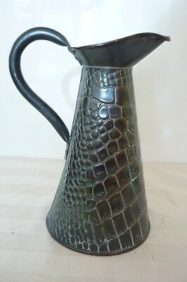 "ANTIQUE ARTS & CRAFTS JOSEPH SANKEY & SONS LIZARD SKIN COPPER JUG No 2, 9"" Inch"