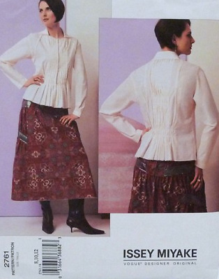 Vogue Sewing Pattern 2761 Issey Miyake Tucked Blouse and Skirt, Size 8 10 12 NEW