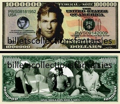 PATRICK  SWAYZE . Million Dollar USA . Billet de commémoration / Collection