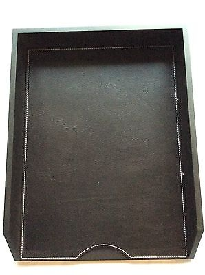 Pinetti Letter tray27 x 35 x 6 cuio leather Black