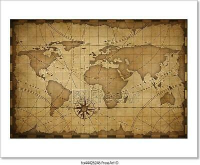 Old World Map Background Art Print Home Decor Wall Art Poster