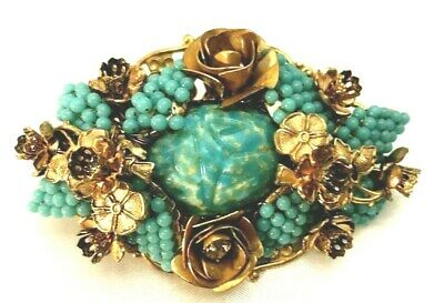 Haskell Turquoise SCARAB Egyptian Revival Seed Bead Brooch w Metal Flowers