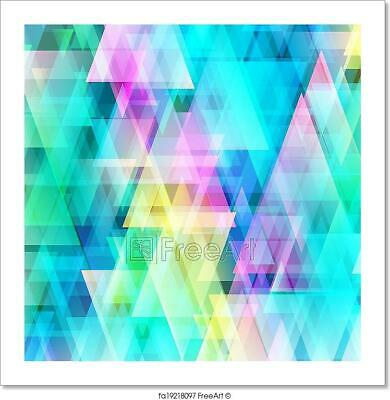 Abstract Bright Triangle Background Art Print Home Decor Wall Art Poster