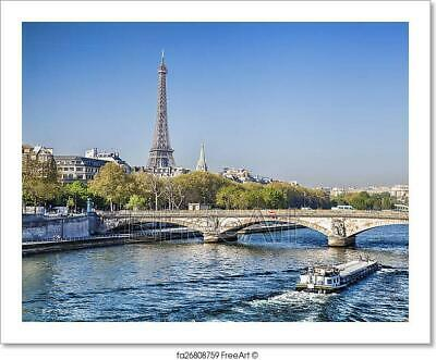 Eiffel Tower With Boat On Seine In Paris, Art Print Home Decor Wall Art Poster