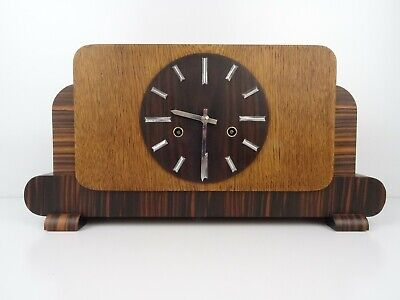 German Mantel Shelf Clock Junghans Art Deco 1936 WW2 8 day (Mauthe Kienzle era)