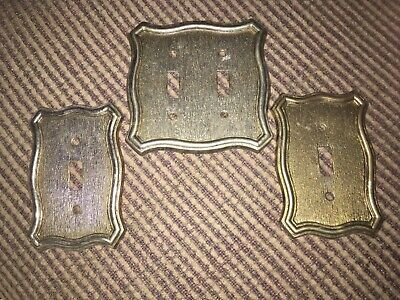 Vintage (1968) Cast Metal Brass Tone Switch Plate by American Tack and Hardware