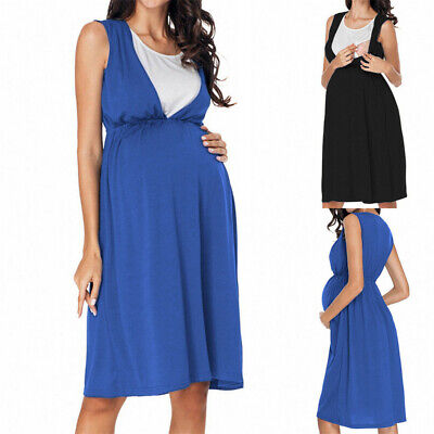 Pregnant Womens High Waist Mini Tunic Dress Summer Tank Tops Maternity Skirt