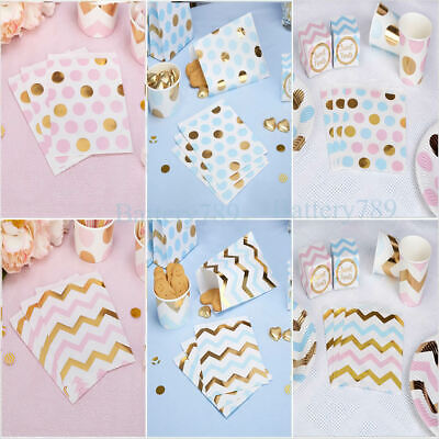 25 Polka Dot Stripe Candy Sweet Paper Bags Buffet Wedding Cake Blue Pink Gold