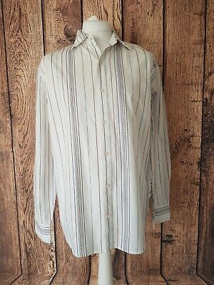 Mens Levis Long Sleeve Shirt Large white Blue Red Stripe 46 Chest