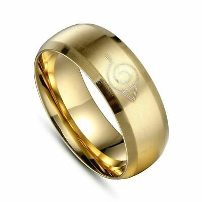 8mm Brushed Nartual Konoha Men Titanium Stainless Steel Gold Color Ring