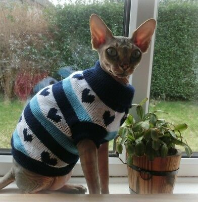 sizes HEARTS Winter sweater for a Sphynx cat, cat clothes Katzenbekleidung