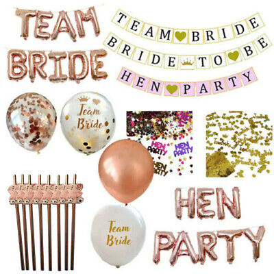 Hen Party Table Decorations Straws Balloons Confetti Bride To Be Banner Garland