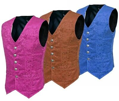 Men/'s Double Breasted GOVERNOR Vest Waistcoat VTG Brocade Gothic Steampunk//USA