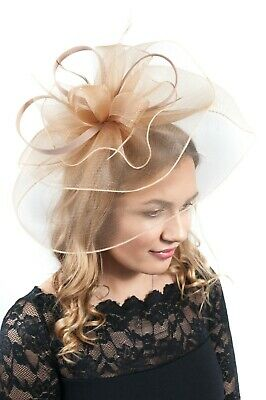Ladies Gold Veil Fascinator Hat Race Day Wedding Guest Fascinators Hatinator
