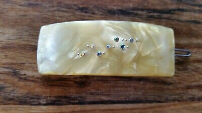 marbled lucite vintage hair clip 85 mm x 30 mm