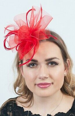 Ladies Red Fascinator Headpieces Hat Race Day Wedding Guest Fascinators RRP £35