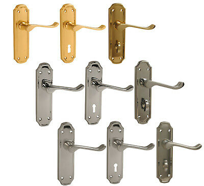 Door Handle Lever Latch or Lock Polished Brass Polished Chrome Satin Chrome York