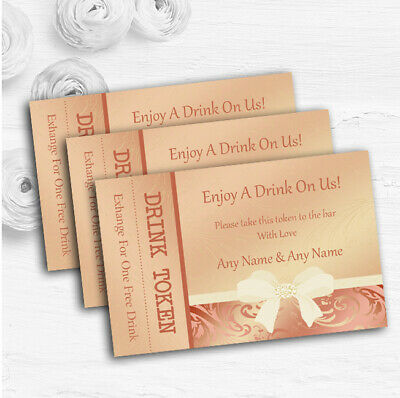 Cream Pale Coral Peach Pink Bow Personalised Wedding Bar Free Drink Tokens