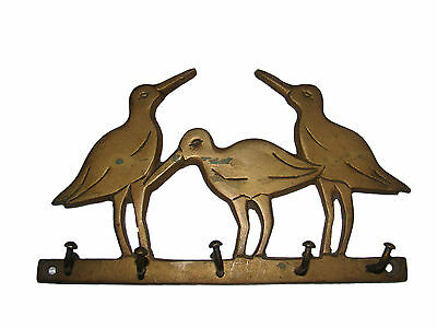 A beautiful attractive hand carved brass 3 LOVELY BIRDS designed coat hook
