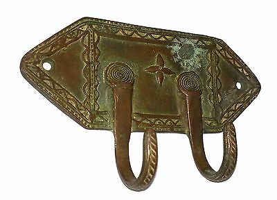 A Lovely Vintage Unique Classical Designed brass Coat Hook KEY HANGER from India