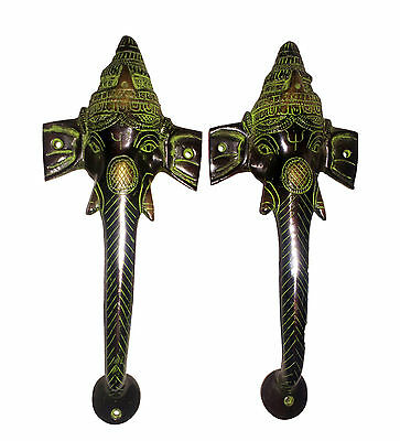 A Pair of Lovely ELEPHANT GOD GANESHA designed DOOR HANDLES Engraved from INDIA