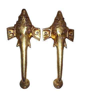 A Pair attractive ELEPHANT GOD GANESHA designed DOOR HANDLES Engraved from INDIA