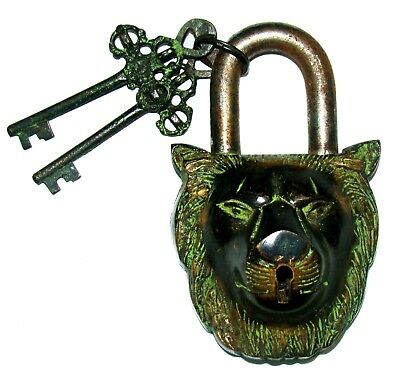 Vintage Antique style crafted brass made Lion Face Padlock with 2 keys India