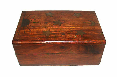 Vintage Wooden Trinket Box Jewelry Box Brass decorated Inlay ARTWORK from India