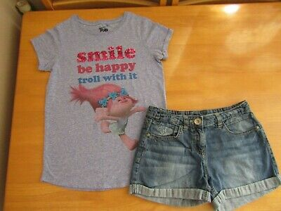 Next Girls Sequin Trolls Top & Denim Shorts Outfit - Age 11 Years