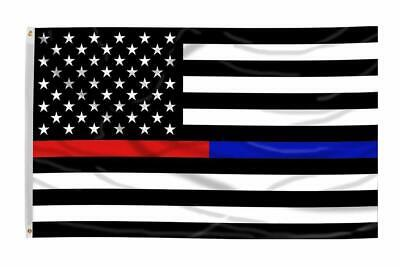 3x5 Ft Thin Blue Line Police & Thin Red Line Firefighter Honor First Responders