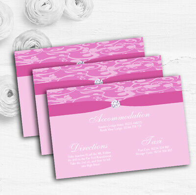 Dusty Pale Baby Rose Pink Floral Damask Diamante Wedding Guest Information Cards
