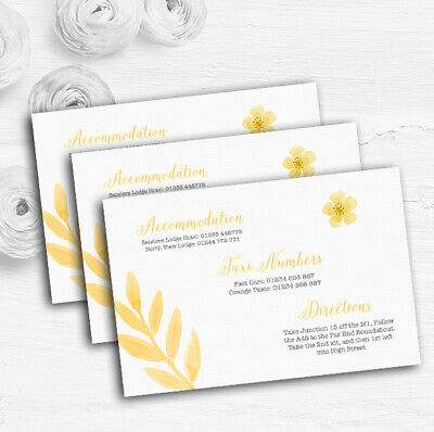 Watercolour Subtle Golden Yellow Personalised Wedding Guest Information Cards